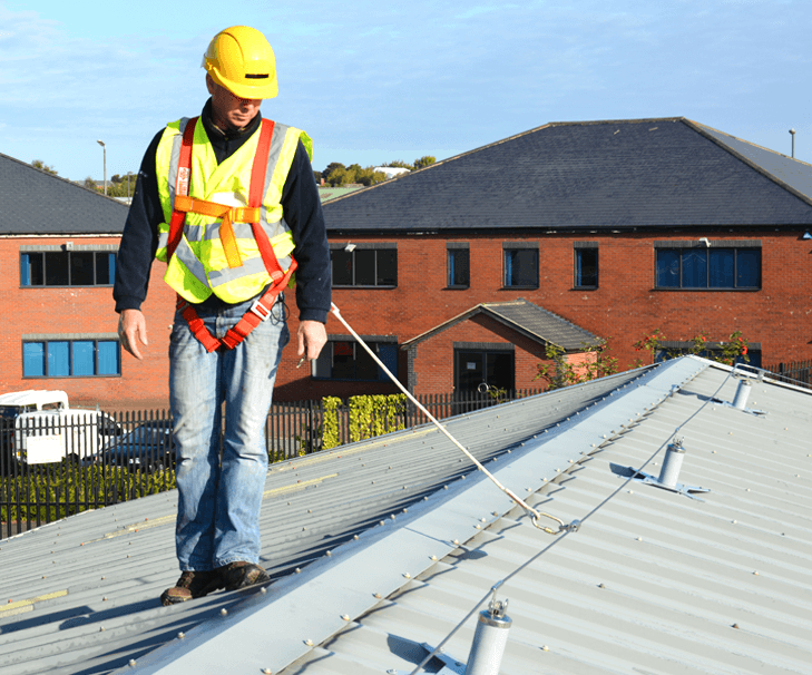 Sheet Roof Hands-free Lifeline System Installed