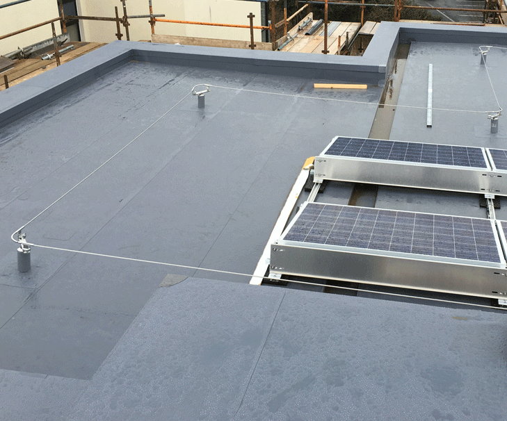 Flat Roof Hands-free Lifeline System Installed