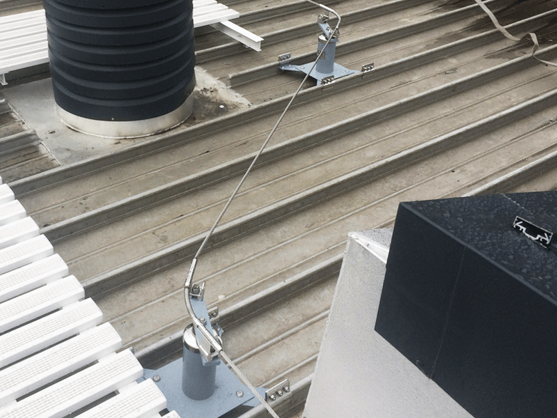 Standing Seam Hands-free Lifeline System Installed